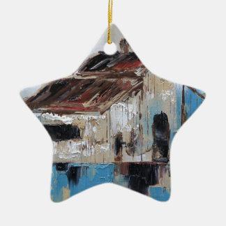 Scheune mit den antiken und rustikalen Farben des Keramik Ornament