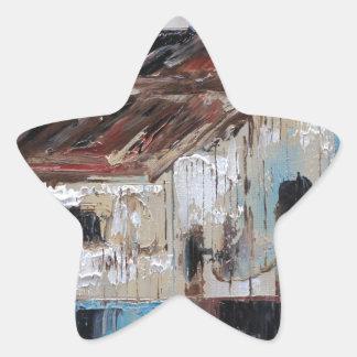 Scheune mit den antiken und rustikalen Farben des Stern-Aufkleber