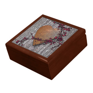 Scheunen-Bretter verrosteten Herz Geschenkbox