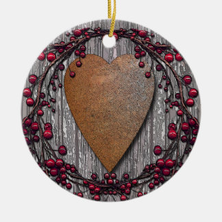 Scheunen-Bretter verrosteten Herz Keramik Ornament