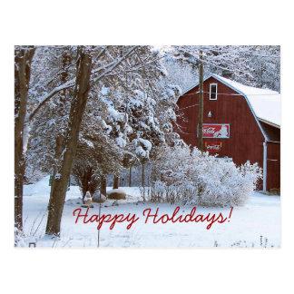 Scheunen-Feiertags-Postkarte Snowy rote Postkarte