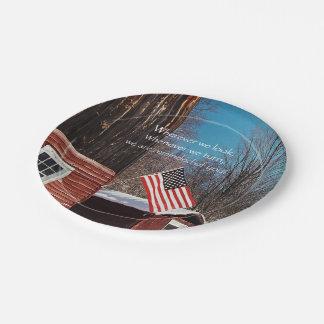 Scheunen-Flaggen-patriotische Erinnerungen ganz Pappteller