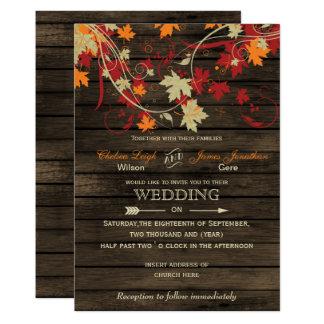 Scheunen-hölzerner rustikaler Herbstlaub, der 12,7 X 17,8 Cm Einladungskarte