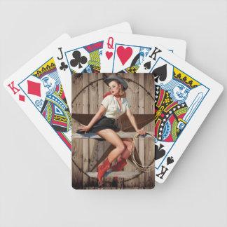 Scheunen-hölzernes Texas-Stern-Westernland Cowgirl Bicycle Spielkarten