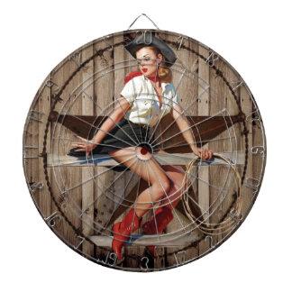 Scheunen-hölzernes Texas-Stern-Westernland Cowgirl Dartscheibe