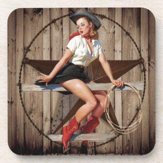 Scheunen-hölzernes Texas-Stern-Westernland Cowgirl Getränkeuntersetzer