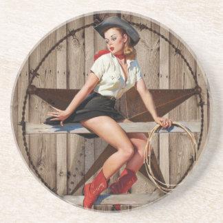 Scheunen-hölzernes Texas-Stern-Westernland Cowgirl Untersetzer
