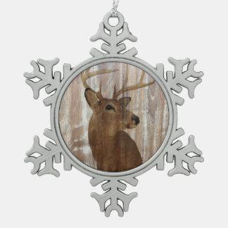 Scheunen-Holzrotwild des Outdoorsman-Westerns Schneeflocken Zinn-Ornament