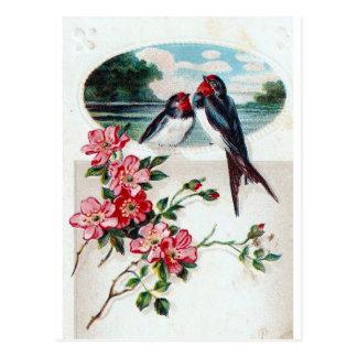 Scheunen-Schwalben und rosa Blumen Postkarte