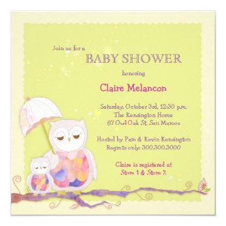 Schicke Baby-Grün-Eulen-Babyparty-Einladungen Quadratische 13,3 Cm Einladungskarte