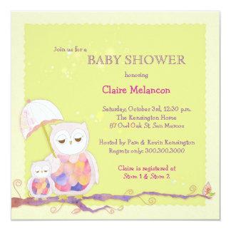 Schicke Baby-Grün-Eulen-Babyparty Quadratische 13,3 Cm Einladungskarte