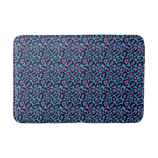 Schicke blaue u. rosa Leopard-Druck-Bad-Matte Badematte