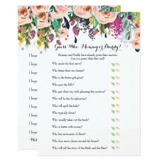 Schicke Blumengarten-Babyparty-Spiele x2 Karte