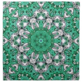 schicke böhmische Mustersmaragdgrün-Mandala Stoffserviette