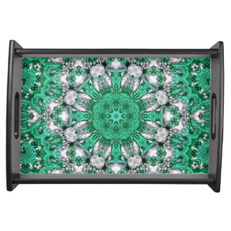 schicke böhmische Mustersmaragdgrün-Mandala Tablett