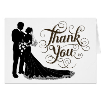 Schicke elegante Schwarzweiss-Hochzeit danken Karte