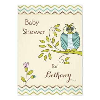 Schicke Eulen-Sparren-Babyparty 12,7 X 17,8 Cm Einladungskarte