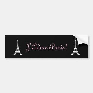 Schicke französische Art-Schwarzweiss-Eiffeltürme Autoaufkleber