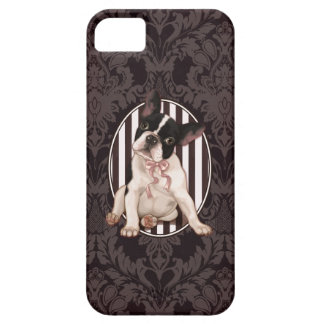 Schicke französische Bulldogge und schwarzer Damas iPhone 5 Schutzhülle