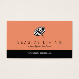 Schicke gestreifte Strandschirm-Logo-Koralle Visitenkarte
