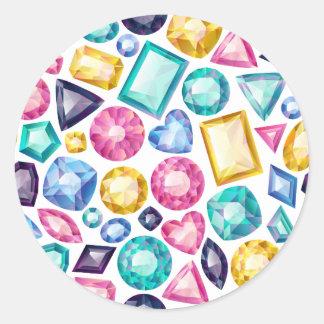 Schicke Girly glänzende Diamant-Edelsteine Runder Aufkleber