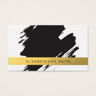 Schicke Goldschwarzesbrushstrokes-Visitenkarte Visitenkarte