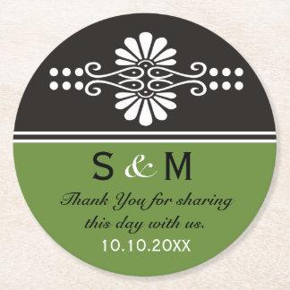Schicke grüne mit Blumenhochzeit danken Ihnen Runder Pappuntersetzer