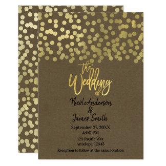 Schicke Hochzeit Goldmoderne schicke rustikale Karte