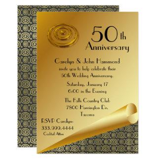Schicke Hochzeitstag-Einladung des Gold50. Karte