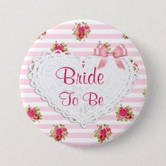 Schicke mit Blumenbraut Wedding Knopf Runder Button 7,6 Cm