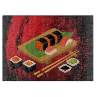 Schicke moderne elegante schwarze u. rote Sushi Schneidebrett