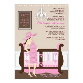 Schicke moderne Mamma-zeitgenössische Babyparty 12,7 X 17,8 Cm Einladungskarte