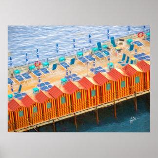 Schicke orange und blaue Cabanas-Strand-Art Poster