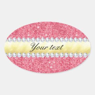 Schicke rosa Paillette-Goldfolie und -diamanten Ovaler Aufkleber