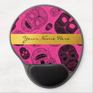 Schicke rosa u. schwarze Zuckerschädel mit Gel Mousepad