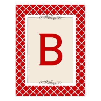 Schicke rote Gitter-Muster-Flaggen-Fahnen-Karte Postkarte