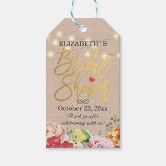 Schicke Schnur beleuchtet Leinenblumen danken Geschenkanhänger