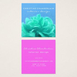 Schicker Blumenc$farbe-kontrast Quadratische Visitenkarte