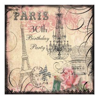 Schicker Eiffelturm-u. Leuchter-30. Geburtstag Einladungskarte