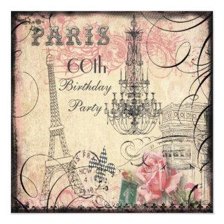 Schicker Eiffelturm-u. Leuchter-60. Geburtstag Quadratische 13,3 Cm Einladungskarte