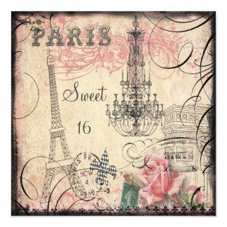 Schicker Eiffelturm-u. Leuchter-Bonbon 16 Quadratische 13,3 Cm Einladungskarte