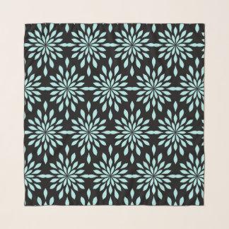 Schicker geometrischer Entwurf, Aqua auf schwarzem Schal