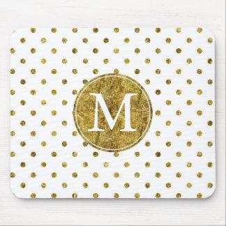 Schicker Goldzauber punktiert Monogramm Mousepad