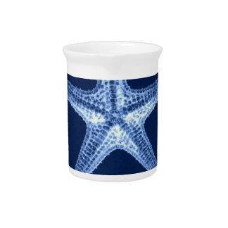 schicker Küstenstrand rustikale blaue Getränke Pitcher