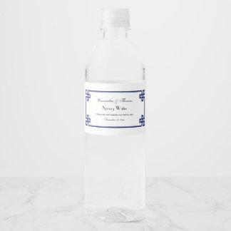 Schicker Marine-Blau-griechischer Wasserflaschenetikett