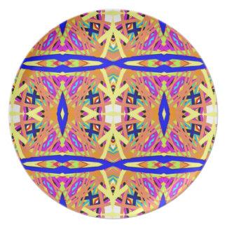 Schicker Pfirsich-blaues gelbes Stammes- Muster Melaminteller