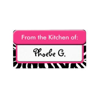 """Schicker rosa Zebra-Druck """"von der Küche"""" der Aufk Adressetikett"""