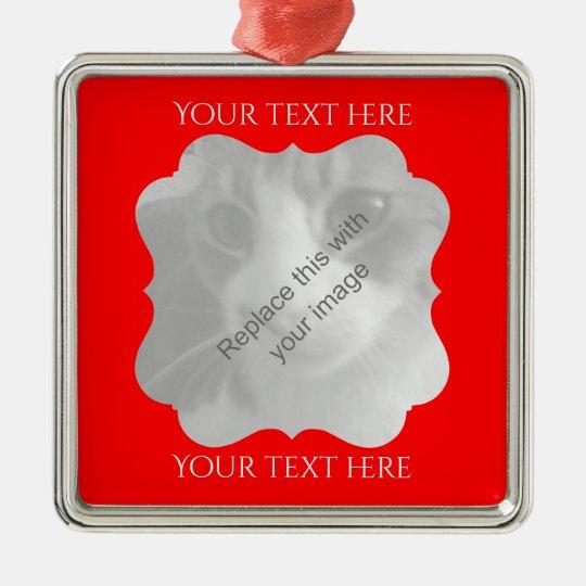 Schicker roter Rahmen irgendeine Gelegenheit Quadratisches Silberfarbenes Ornament