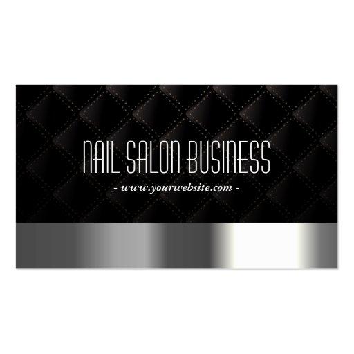 Schicker silberner Nagel-Salon-dunkle Visitenkarten Vorlagen