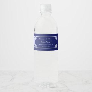 Schicker weißer griechischer wasserflaschenetikett
